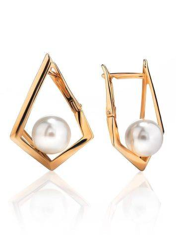 Geometric Golden Earrings With Faux Pearl The Serene, image