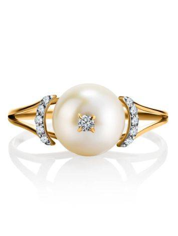 Golden Ring With Pearl And Crystals The Serene, Ring Size: 8.5 / 18.5, image , picture 4
