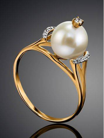 Golden Ring With Pearl And Crystals The Serene, Ring Size: 8.5 / 18.5, image , picture 2