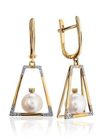 Golden Dangles With Pearl And Crystals The Serene, image