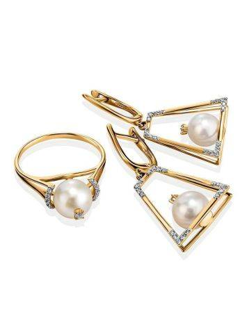 Golden Ring With Pearl And Crystals The Serene, Ring Size: 8.5 / 18.5, image , picture 5