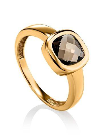 Classic Golden Ring With Smoky Quartz, Ring Size: 7 / 17.5, image