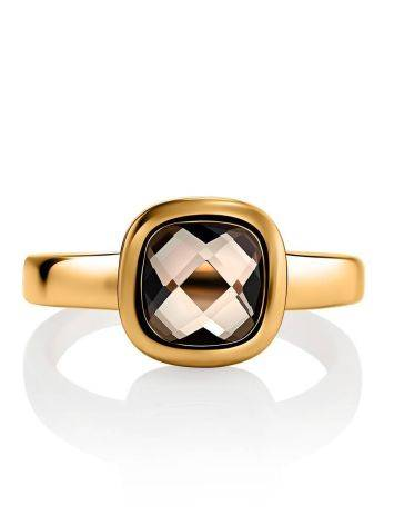 Classic Golden Ring With Smoky Quartz, Ring Size: 7 / 17.5, image , picture 3