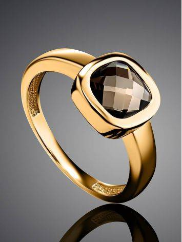 Classic Golden Ring With Smoky Quartz, Ring Size: 7 / 17.5, image , picture 2