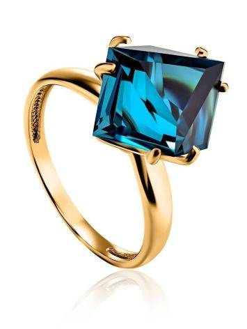 Golden Ring With Blue Synthetic Topaz, Ring Size: 6 / 16.5, image