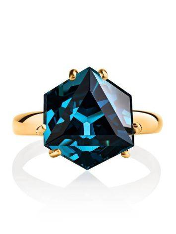 Golden Ring With Blue Synthetic Topaz, Ring Size: 6 / 16.5, image , picture 3