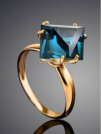 Golden Ring With Blue Synthetic Topaz, Ring Size: 6 / 16.5, image , picture 2