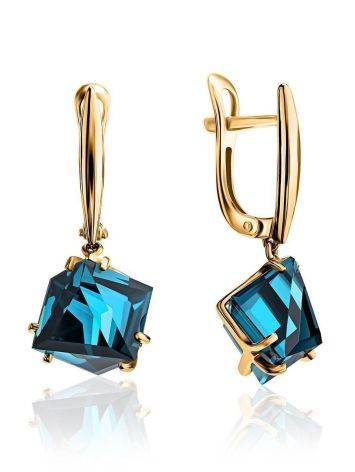 Golden Dangle Earrings With Synthetic Topaz, image