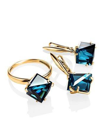 Golden Ring With Blue Synthetic Topaz, Ring Size: 6 / 16.5, image , picture 4