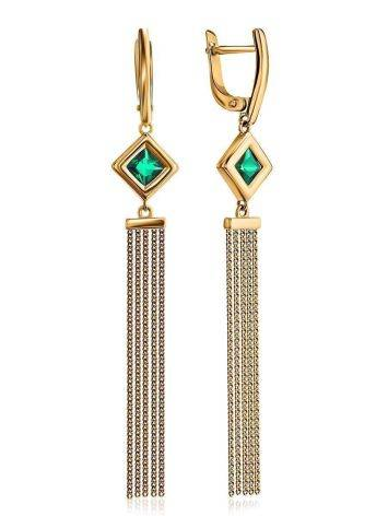 Golden Chain Dangle Earrings With Green Crystals, image