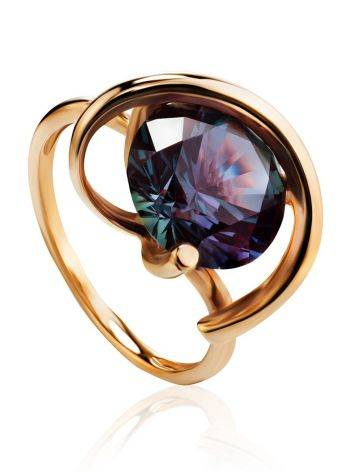 Golden Cocktail Ring With Synthetic Alexandrite, Ring Size: 7 / 17.5, image