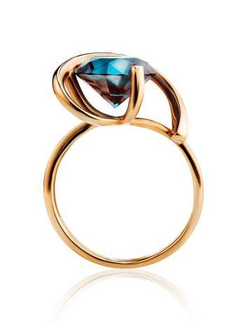 Golden Cocktail Ring With Synthetic Alexandrite, Ring Size: 7 / 17.5, image , picture 3