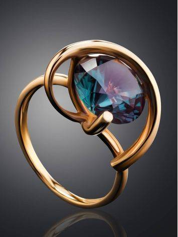 Golden Cocktail Ring With Synthetic Alexandrite, Ring Size: 7 / 17.5, image , picture 2
