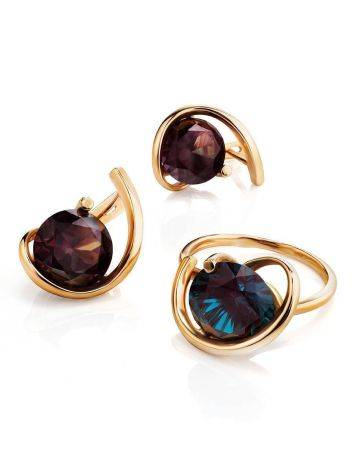 Golden Cocktail Ring With Synthetic Alexandrite, Ring Size: 7 / 17.5, image , picture 5