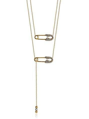 Designer Golden Necklace With Crystals, image