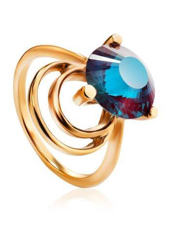 Golden Cocktail Ring With Alexandrite, Ring Size: 7 / 17.5, image