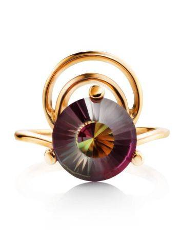 Golden Cocktail Ring With Alexandrite, Ring Size: 7 / 17.5, image , picture 4