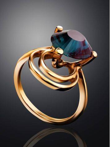 Golden Cocktail Ring With Alexandrite, Ring Size: 7 / 17.5, image , picture 2