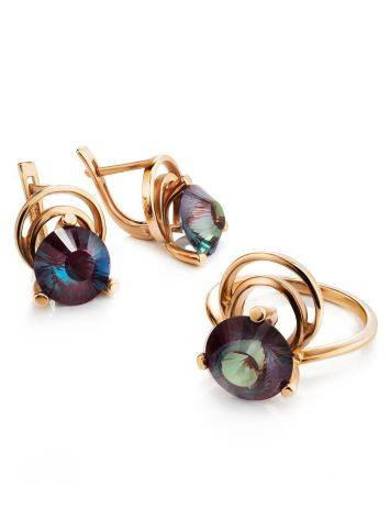 Golden Cocktail Ring With Alexandrite, Ring Size: 7 / 17.5, image , picture 5