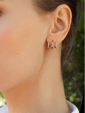 Golden Twisted Earrings With Crystals, image , picture 3
