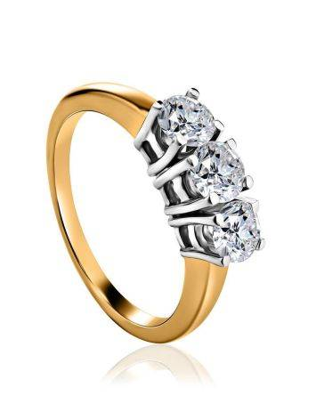 Golden Statement Ring With Three Diamonds, Ring Size: 8 / 18, image