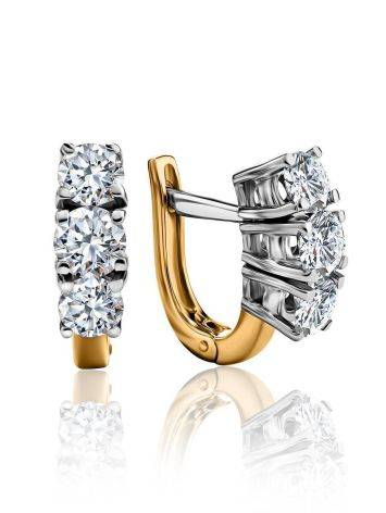 Golden Earrings With Diamond Rows, image