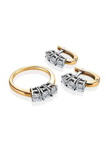 Golden Earrings With Diamond Rows, image , picture 3