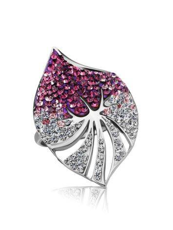 Silver Cocktail Ring With Crystals The Jungle, Ring Size: 5.5 / 16, image , picture 3
