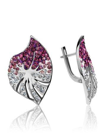 Silver Earrings With Multicolor Crystals The Jungle, image