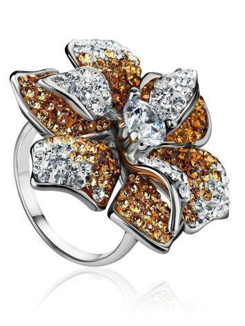 Silver Floral Ring With Crystals The Jungle, Ring Size: 8 / 18, image