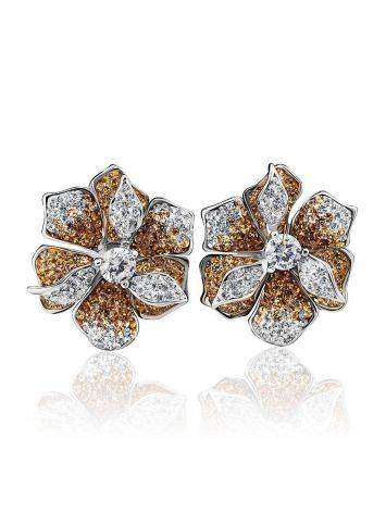 Silver Floral Earrings With Crystals The Jungle, image , picture 4