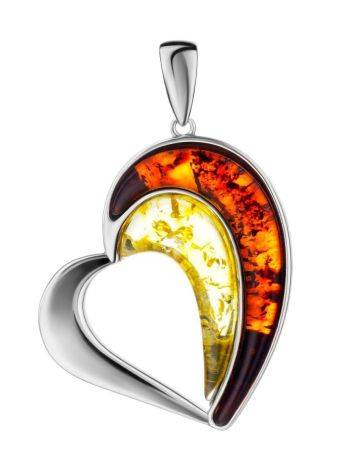 Heart Shaped Silver Pendant With Multicolor Amber The Sunrise, image