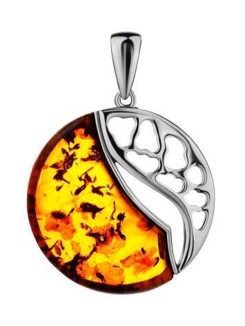 Round Silver Pendant With Cognac Amber The Sunrise, image