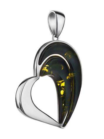 Heart Shaped Silver Amber Pendant The Sunrise, image
