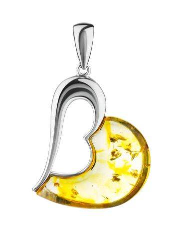 Heart Shaped Silver Pendant With Amber The Sunrise, image