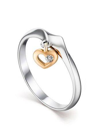 Silver Ring With Golden Diamond Heart Dangle The Diva, Ring Size: 6.5 / 17, image