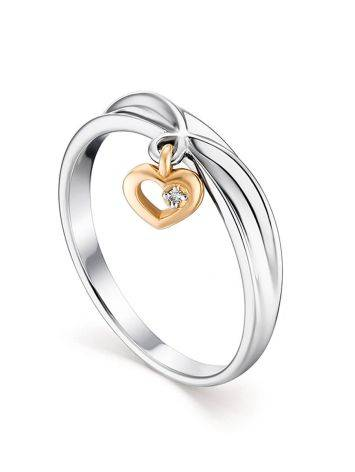 Silver Ring With Golden Diamond Heart Dangle The Diva, Ring Size: 8 / 18, image
