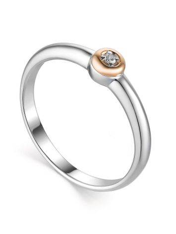 Silver Golden Ring With Solitaire Diamond The Diva, Ring Size: 8 / 18, image