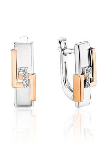 Silver Golden Earrings With Diamonds The Diva, image