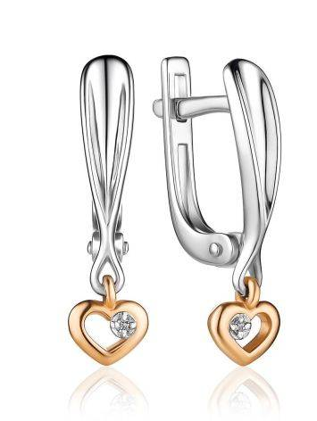 Silver Earrings With Golden Diamond Dangles The Diva, image