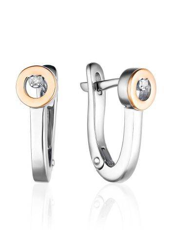 Modern Silver Golden Earrings With Diamond The Diva, image