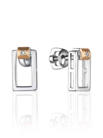 Silver Golden Studs With Diamonds The Diva, image