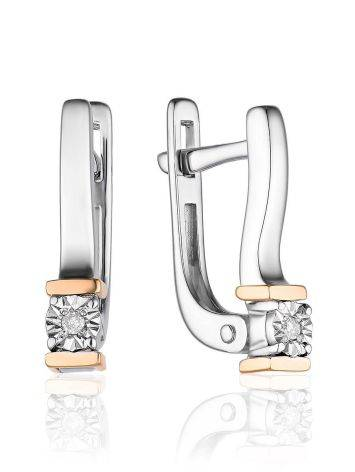 Silver Golden Earrings With White Diamonds The Diva, image