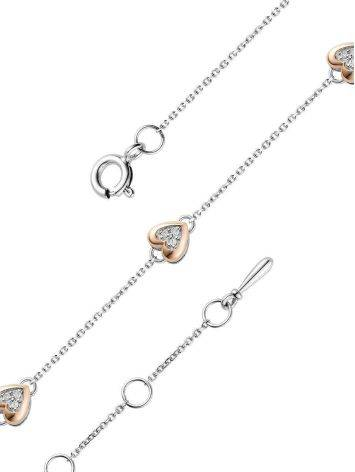 Silver Bracelet With Golden Diamond Heart Shaped Charm The Diva, image , picture 3
