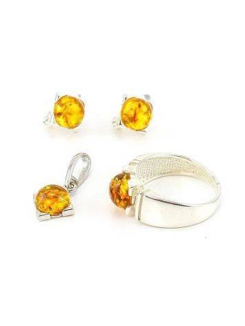Geometric Amber Silver Pendant The Rondo, image , picture 6