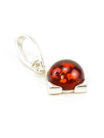 Square Silver Pendant With Cherry Amber The Rondo, image , picture 3