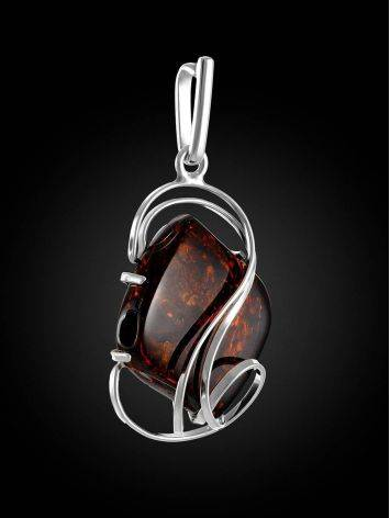 Bold Silver Handcrafted Pendant With Amber The Rialto, image , picture 3