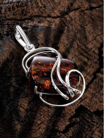 Bold Silver Handcrafted Pendant With Amber The Rialto, image , picture 2
