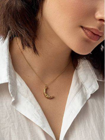 18ct Gold on Sterling Silver ​Moon Crescent Necklace, image , picture 3
