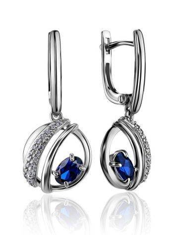 Silver Dangles With Synthetic Sapphire And Crystals, image